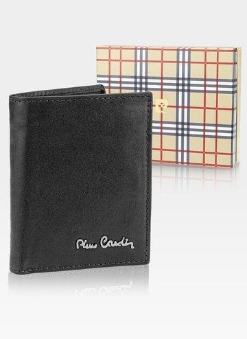 Skórzany portfel męski Pionowy Pierre Cardin Tilak50 1812 RFID Czarny