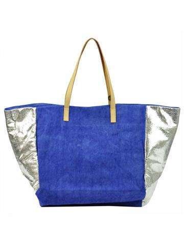Damska Torebka ekologiczna A4 Lookat LK-Y1307 niebieski + srebrny