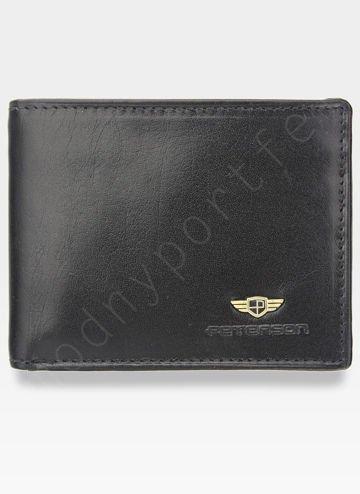 Kompaktowy Portfel Męski Peterson Skórzany Mały Zgrabny Poziomy Czarny SYSTEM RFID 367