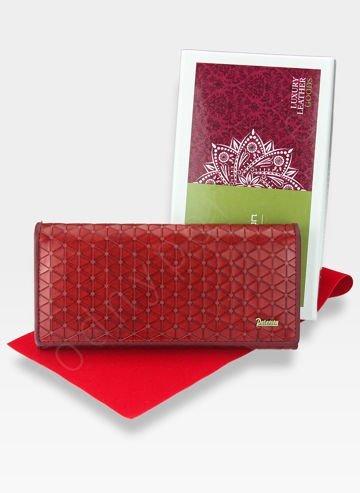 PETERSON Portfel Damski Skórzany Skóra Naturalna Czerwony Wytłoczony PH435