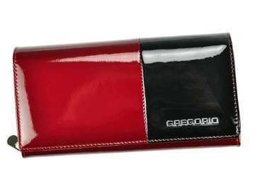 Portfel Damski Skórzany Gregorio DUO-106 czerwony + czarny Skóra Naturalna Lakierowana