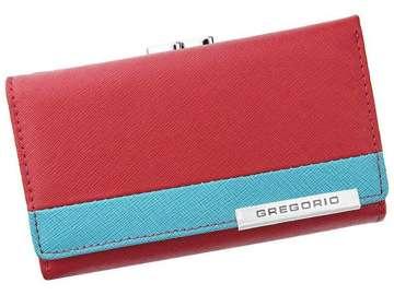 Portfel Damski Skórzany Gregorio FRZ-108 czerwony + niebieski Skóra Naturalna