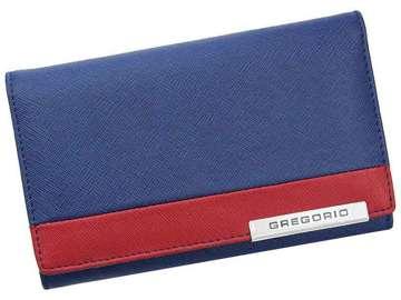 Portfel Damski Skórzany Gregorio FRZ-112 niebieski + czerwony Skóra Naturalna