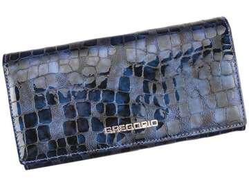 Portfel Damski Skórzany Gregorio FS-114 niebieski Skóra Naturalna Lakierowana