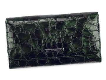 Portfel Damski Skórzany Gregorio FZ-110 zielony Skóra Naturalna Lakierowana