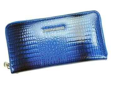 Portfel Damski Skórzany Gregorio GF119 niebieski Skóra Naturalna Lakierowana
