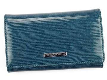 Portfel Damski Skórzany Gregorio LN-101 niebieski Skóra Naturalna Lakierowana