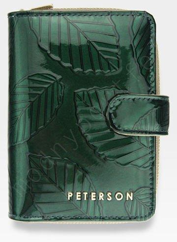 Portfel Damski Skórzany PETERSON Lakierowany Zielone Liście 602