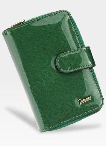 Portfel Damski Skórzany PETERSON Lakierowany Zielony 602