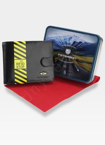 Portfel Męski Peterson Skórzany 306 Czarny Zapinany System RFID Mieści dowód Rejestracyjny!