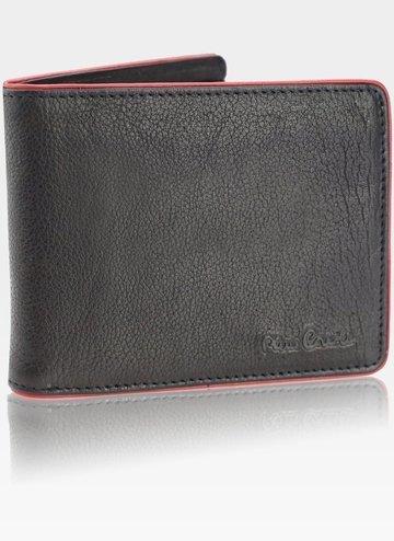 Portfel Męski Pierre Cardin Skórzany Klasyczny Poziomy Tumble 324 RFID Black+red