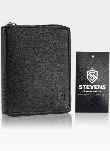 Skórzany czarny portfel męski STEVENS duży na suwak Pionowy