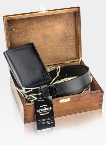 Zestaw Prezentowy STEVENS Portfel i Pasek w drewnianym pudełku na prezent!