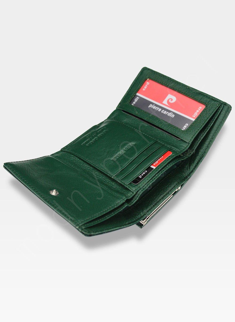 111e0aebbeb5 ... Portfel Damski Pierre Cardin Skórzany Zielony w Liście 117 Kliknij