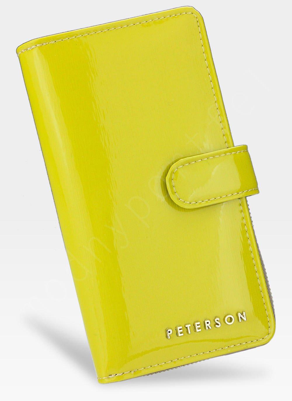 88e206c826819 Portfel Damski Skórzany PETERSON Lakierowany 603 Żółty Błyszczący ...
