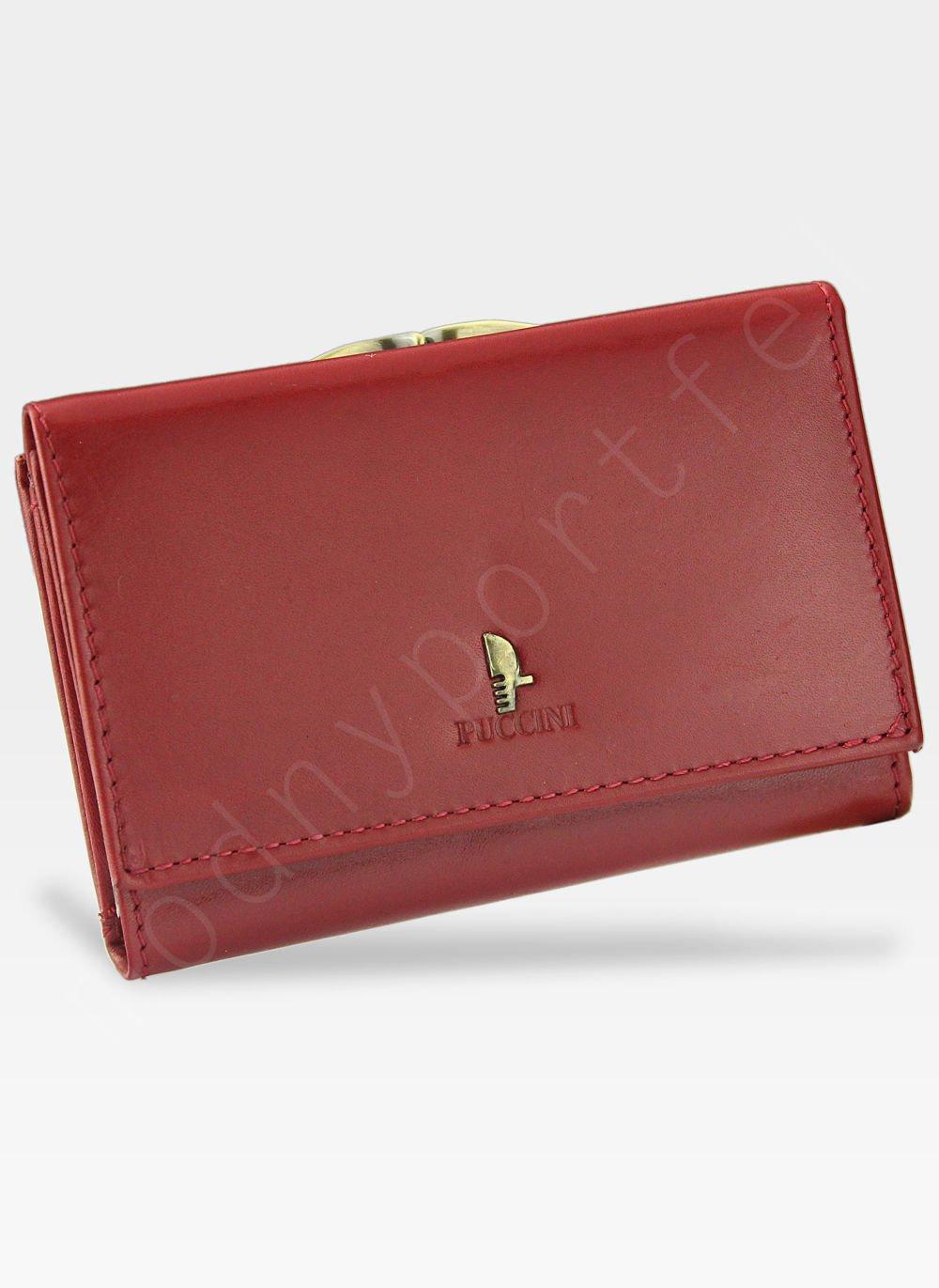 0e090e3fb6c7c Kliknij, aby powiększyć; Portfel Damski Skórzany PUCCINI Klasyczny Czerwony  z Biglem 1950P Średni