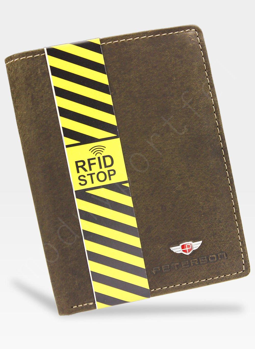 e3b65d54ad801 Portfel Męski Peterson Skórzany Brązowy 350 RFID STOP 350 2-1-4 RFID ...