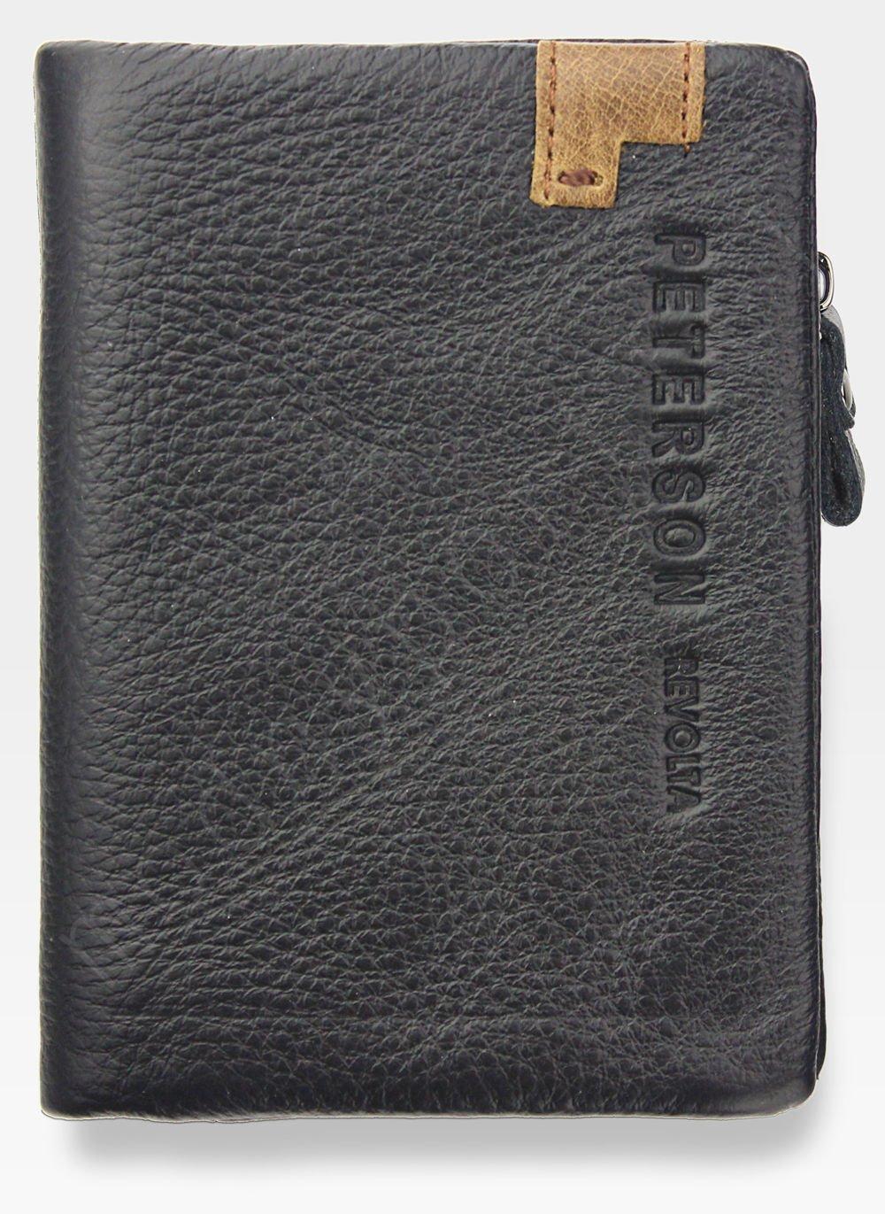 86278f8599152 Portfel Męski Peterson Skórzany Miękki Skóra Naturalna SD Card 8102 Czarny  Kliknij, aby powiększyć ...