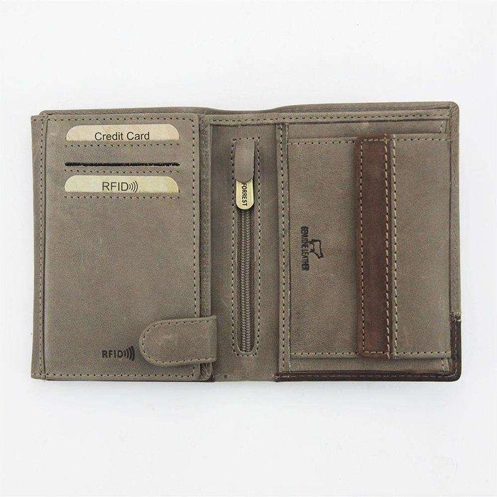 Portfel męski skórzany EL FORREST 859-02 RFID beż + brąz