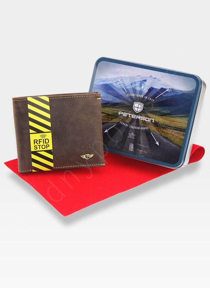 Cardholder Męski Peterson Skórzany Cienki Slim System RFID 360 Nubuk