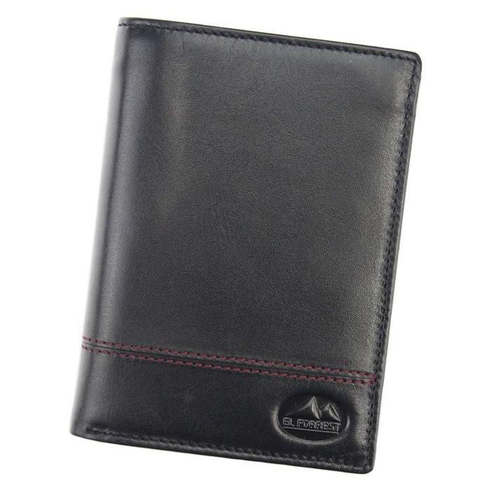 Mały Portfel męski skórzany EL FORREST 896-62 RFID czarny + czerwony