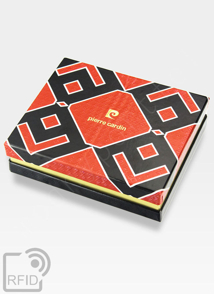 Oryginalny Portfel Męski Pierre Cardin Skórzany Zapinany Suwak Tilak12 8818 Brązowy RFID