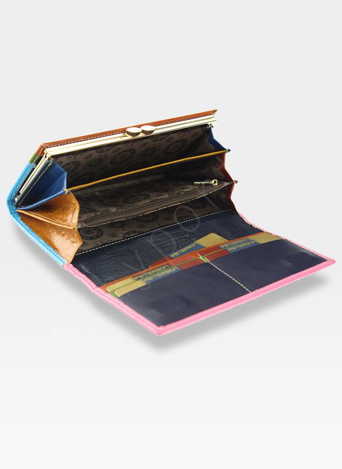 PETERSON Portfel Damski Skórzany Skóra Naturalna Różowoniebieski PL435