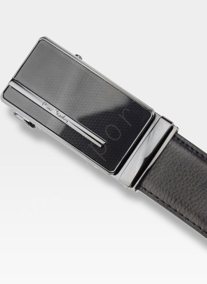Pasek Skórzany Męski PIERRE CARDIN Czarny Metalowa Klamra Automatyczna 519