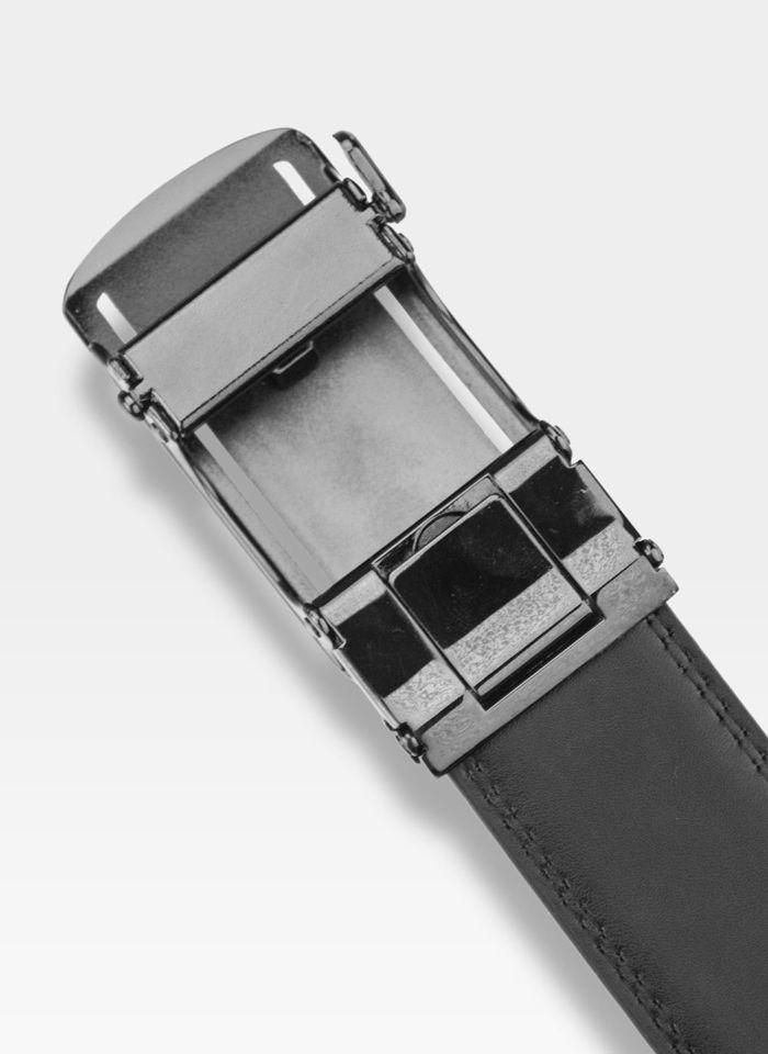 Pasek Skórzany Męski PIERRE CARDIN Czarny Metalowa Klamra Automatyczna 537