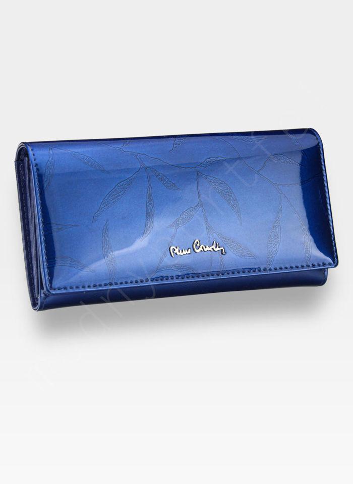 Portfel Damski Pierre Cardin Skórzany Niebieski w Liście 100