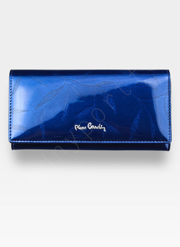 Portfel Damski Pierre Cardin Skórzany Niebieski w Liście 102