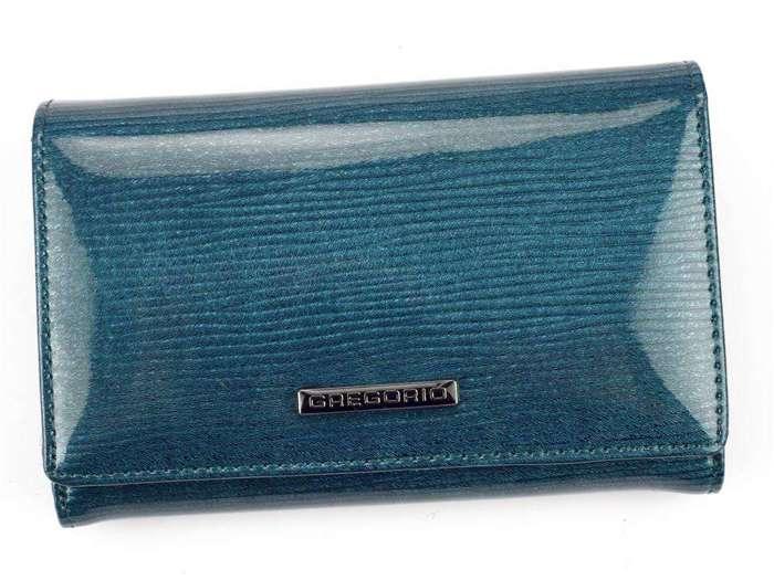 Portfel Damski Skórzany Gregorio LN-112 niebieski Skóra Naturalna Lakierowana