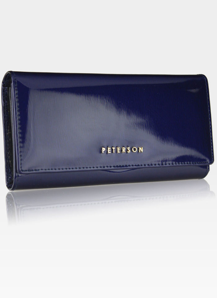 Portfel Damski Skórzany PETERSON 467 Ciemny Niebieski Lakierowany