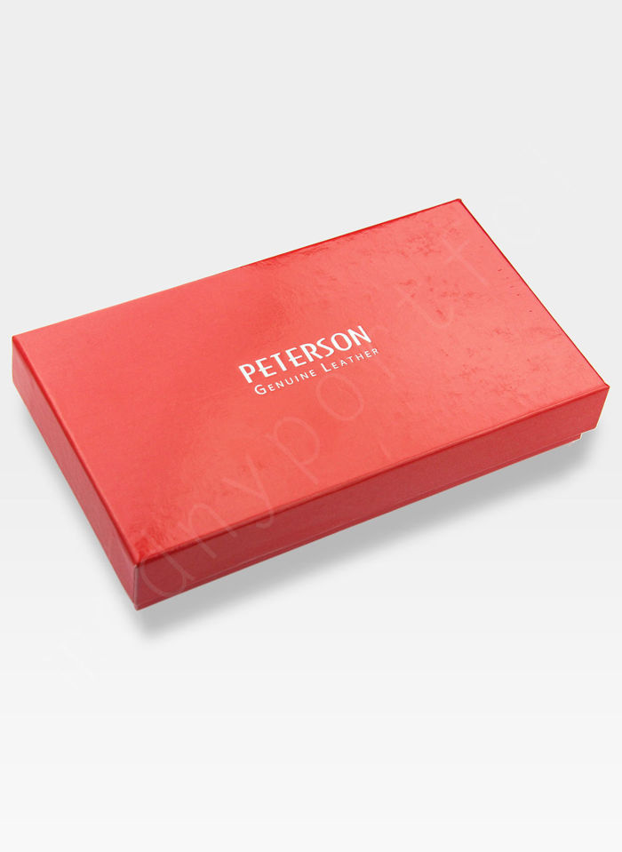 Portfel Damski Skórzany PETERSON 467 Czerwony Lakierowany