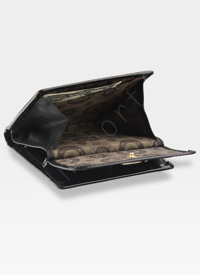 Portfel Damski Skórzany PETERSON 499 Czarny Lakierowany z Tunelem