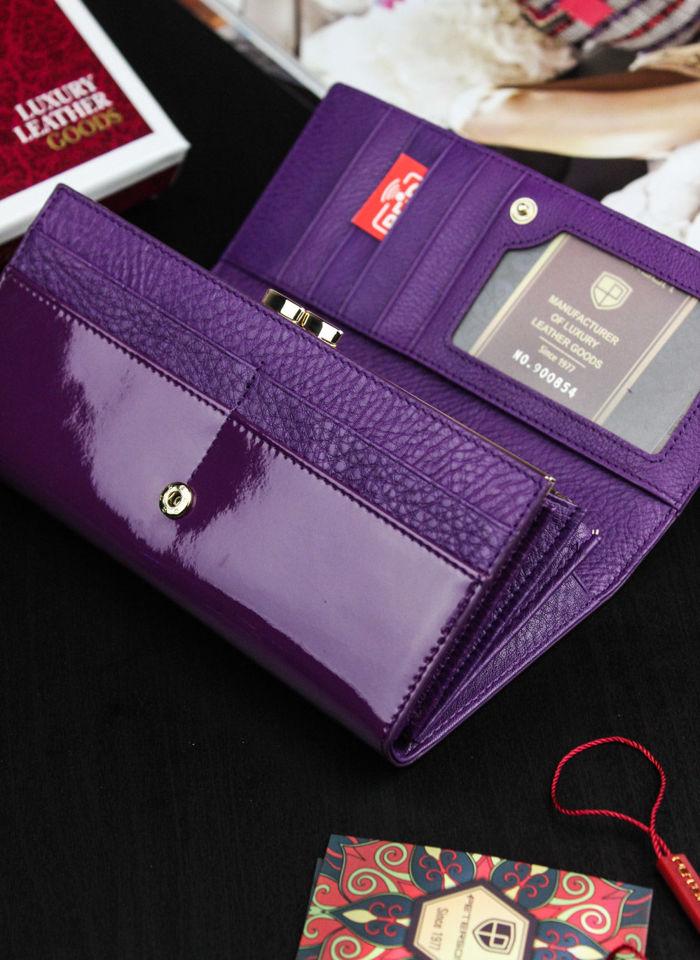 Portfel Damski Skórzany PETERSON Duży Elegancki Pojemny System RFID Fioletowy 467