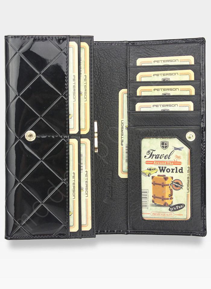 Portfel Damski Skórzany PETERSON Duży Elegancki Pojemny System RFID Pikowany Czarny 467