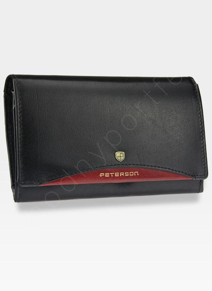 Portfel Damski Skórzany PETERSON Dwukolorowy 484.01 Czarny + Czerwony