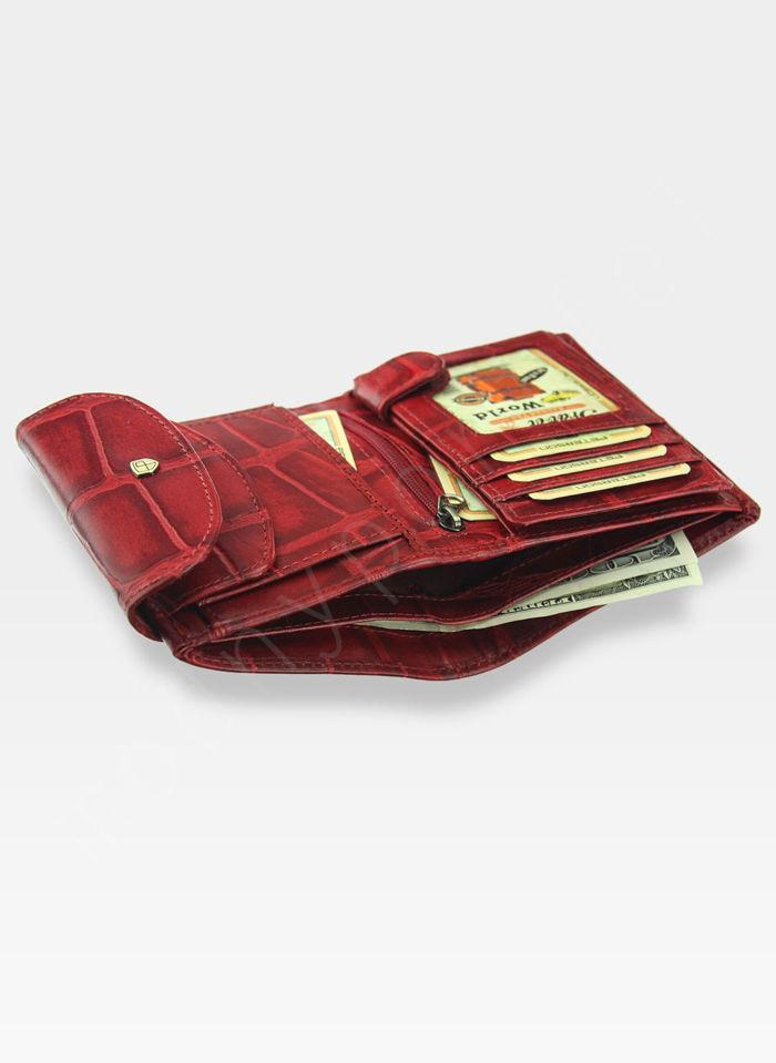 Portfel Damski Skórzany PETERSON Elegancki Czerwony 405