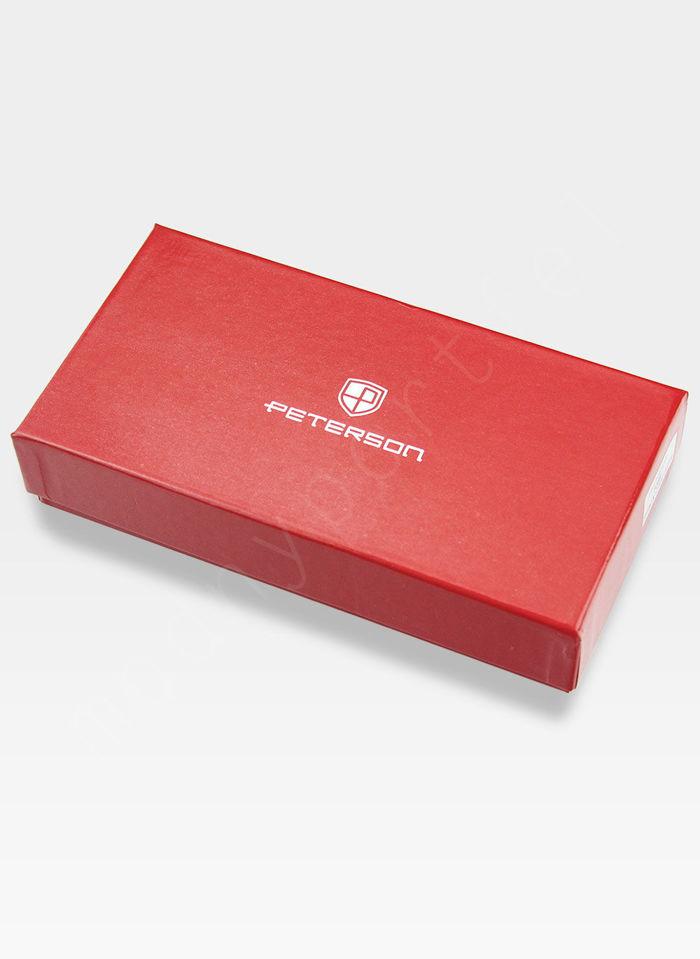 Portfel Damski Skórzany PETERSON Pikowany 605 Czerwony