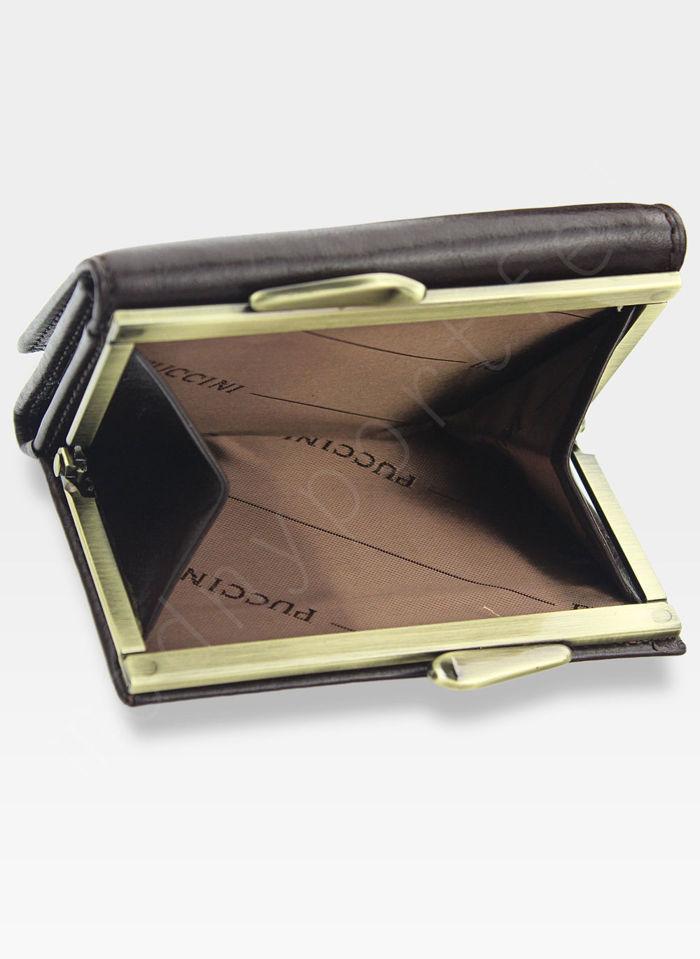 Portfel Damski Skórzany PUCCINI Klasyczny Brązowy z Biglem 1701P Mały