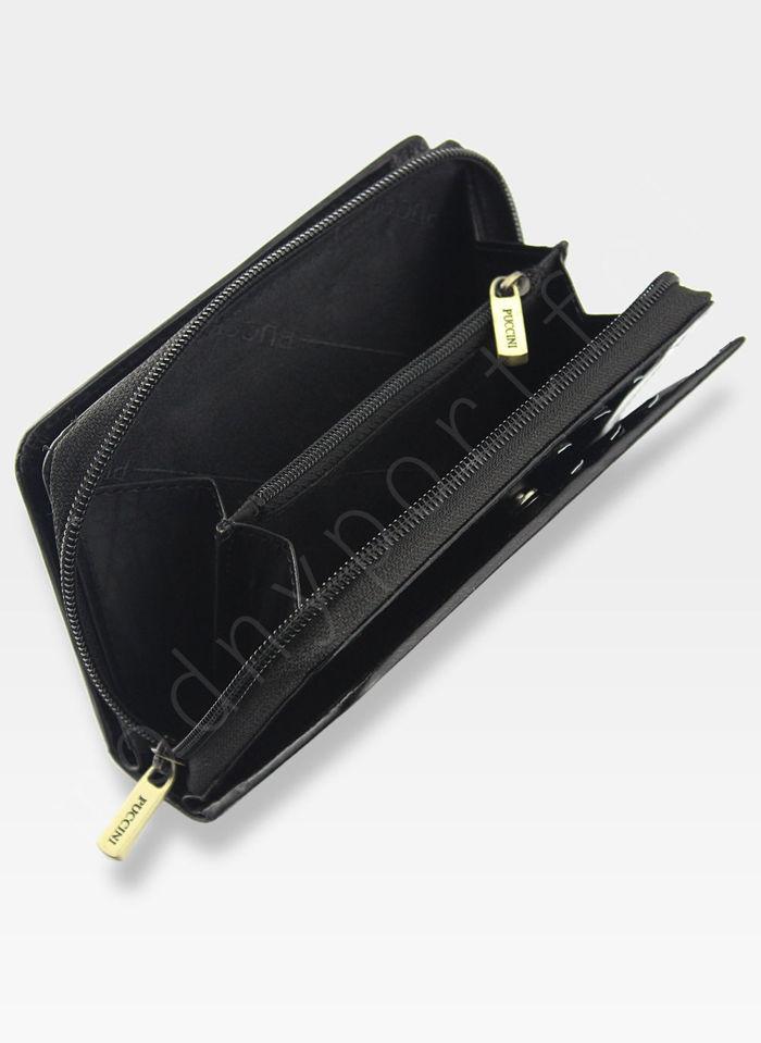 Portfel Damski Skórzany PUCCINI Rozbudowany Czarny MU22036