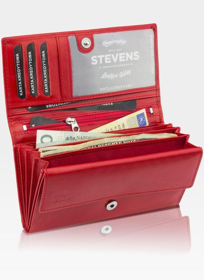 Portfel Damski Skórzany STEVENS Rozbudowany Czerwony Z02-063M RFID