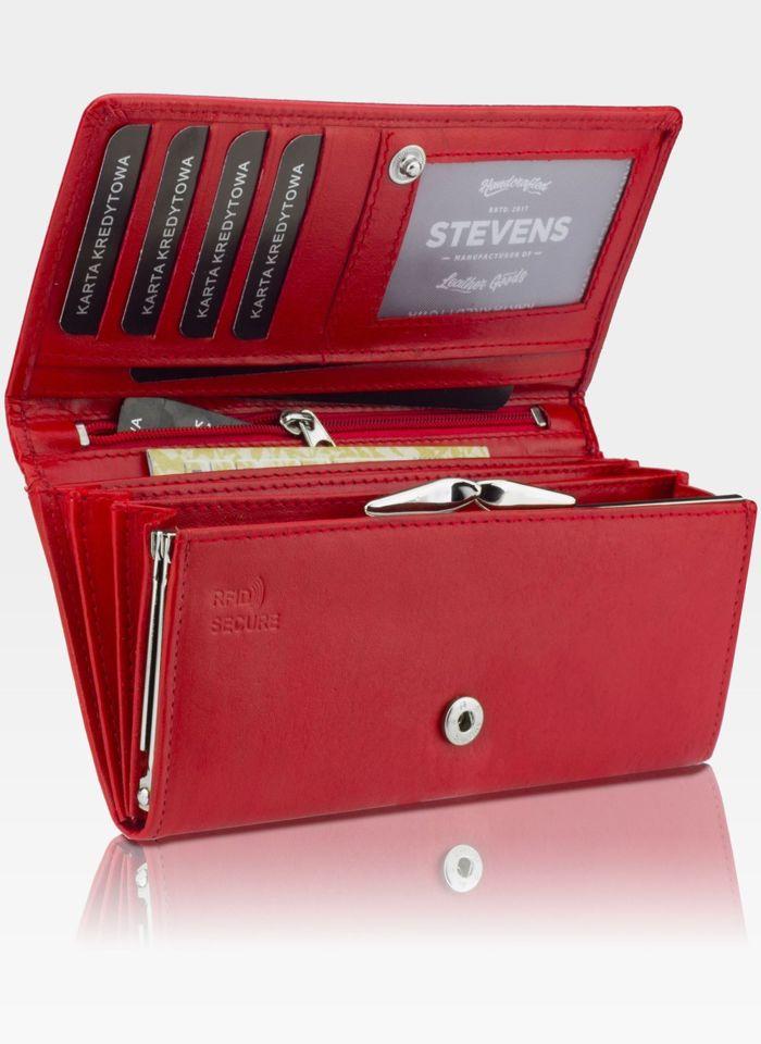 Portfel Damski Skórzany STEVENS Rozbudowany Czerwony Z02-099 RFID
