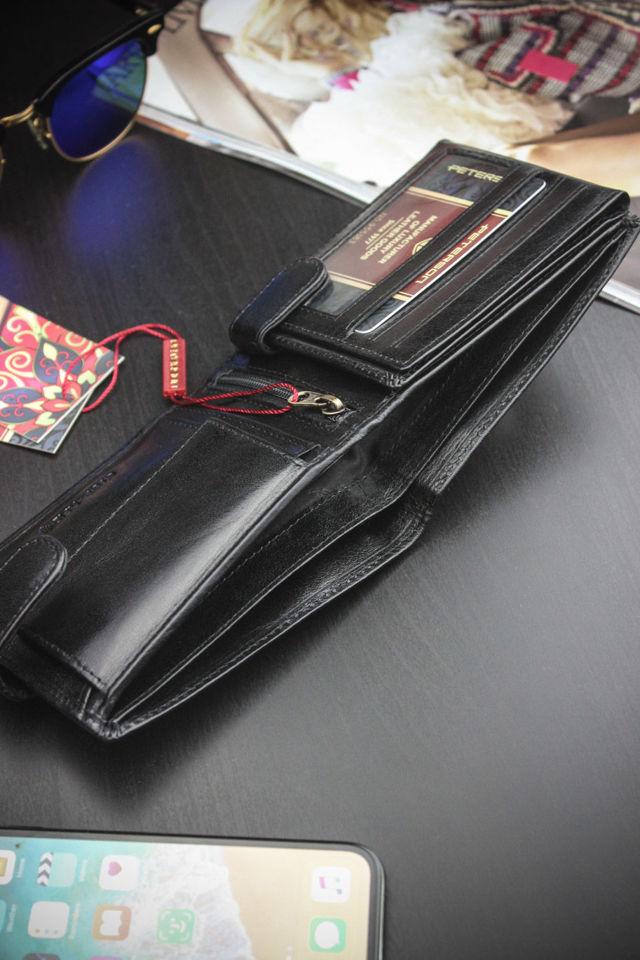 Portfel Męski Peterson Skórzany 304 Czarny System RFID STOP
