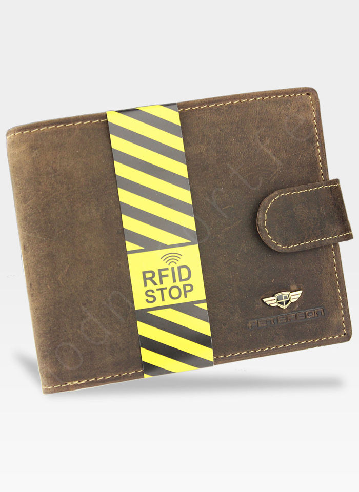 Portfel Męski Peterson Skórzany 306 Brązowy Zapinany System RFID Mieści dowód Rejestracyjny!