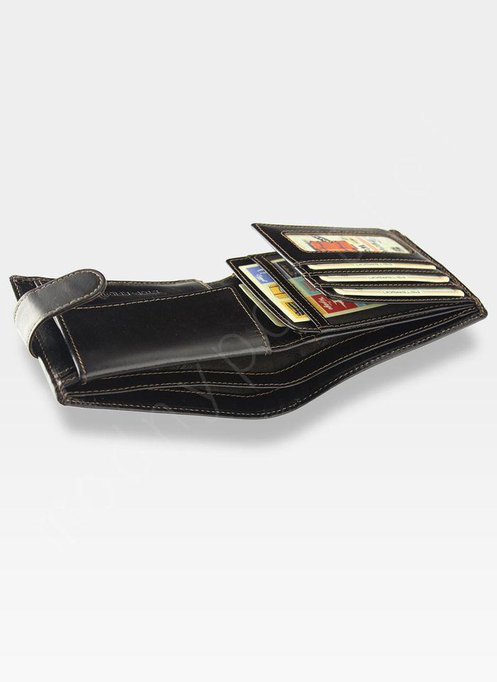 Portfel Męski Peterson Skórzany 306 Ciemny Brąz Zapinany System RFID Mieści dowód Rejestracyjny!