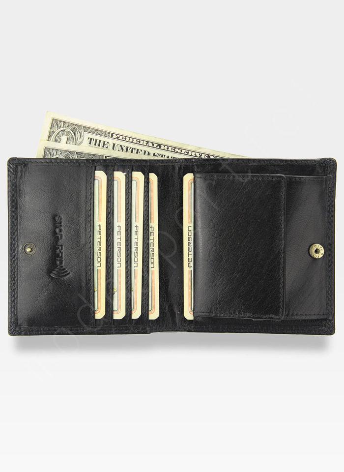 Portfel Męski Peterson Skórzany 377 Czarny RFID STOP Piekiełko