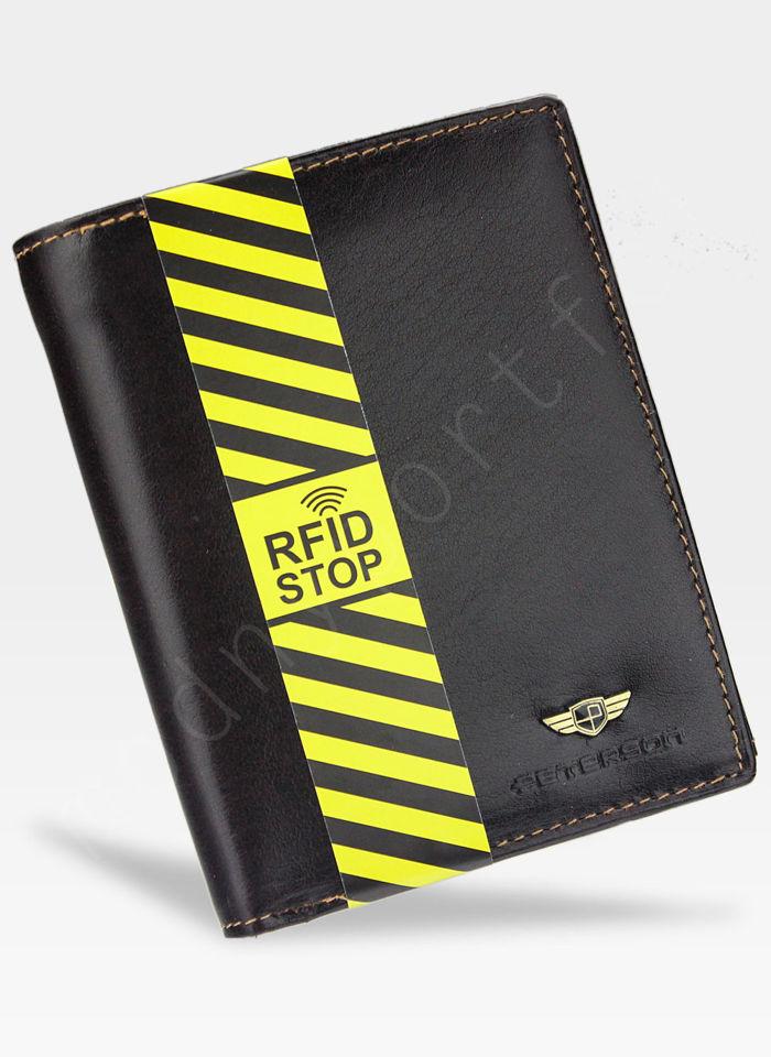 Portfel Męski Peterson Skórzany Ciemny Brąz 317 System RFID STOP