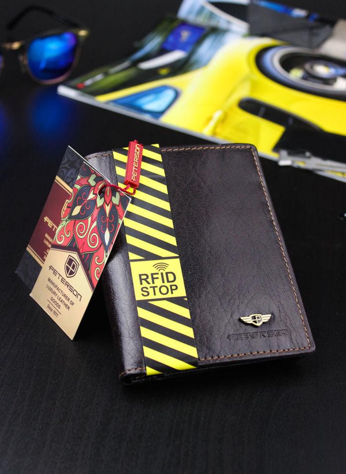 Portfel Męski Peterson Skórzany Ciemny Brąz 350 RFID STOP